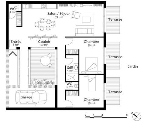 plans maison plain pied 4 chambres plan maison mitoyenne de plain pied ooreka