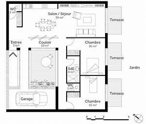 plan maison mitoyenne de plain pied ooreka With plan maison mitoyenne par le garage