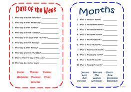 esl days   week worksheets
