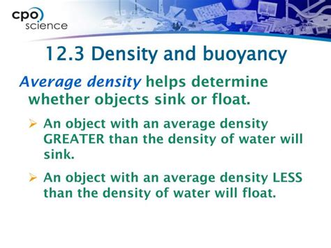what determines whether an object will sink or float ppt 12 3 buoyancy is a powerpoint presentation
