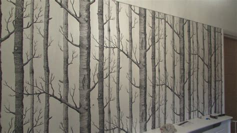 creating  feature wall  tree effect wallpaper
