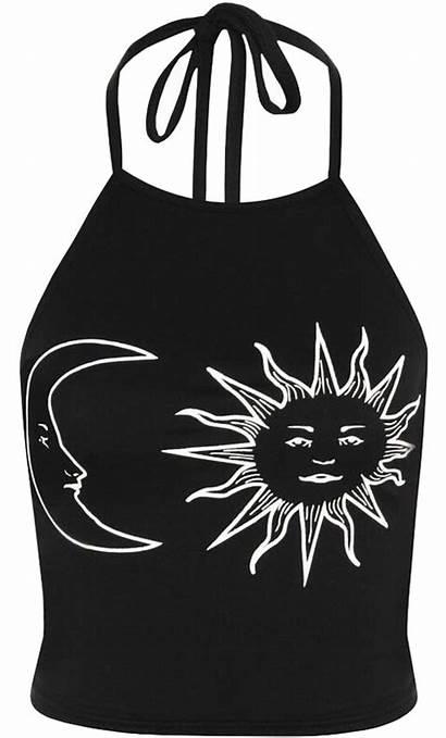 Crop Moon Sun Halterneck Grunge Luulla Shirt