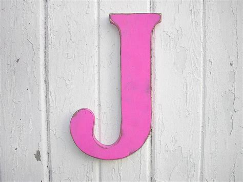 Rustic Wooden Letter J 12 Girls Wall Decor Art Fuchsia
