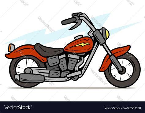 Cartoon Retro Red Motorbike Royalty Free Vector Image