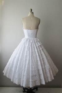 5039s eyelet wedding dress vintage 195039s strapless With eyelet wedding dress