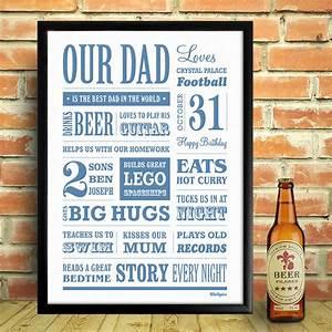 personalised dad memory word art print by wallspice ...
