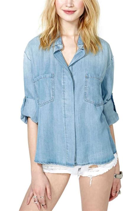 light blue rolled sleeve slit  denim shirt