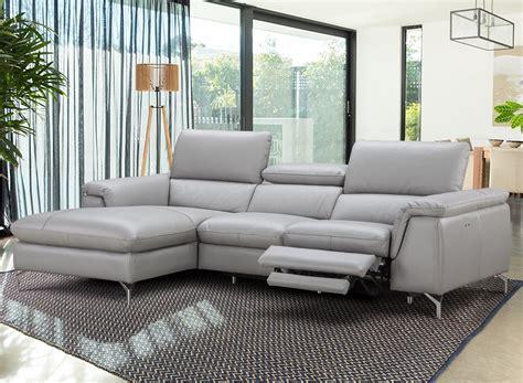 Light Grey Italian Leather Serena Sectional Sofa