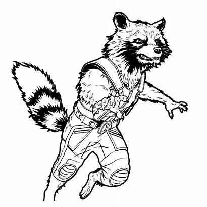 Avengers Rocket Endgame Coloring Superhelden Kleurplaat Raccoon
