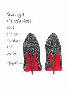 Watercolor Louboutin Shoes Fashion Illustration Give A Girl