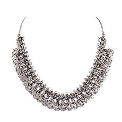 sansar india oxidized silver plated coins choker necklace