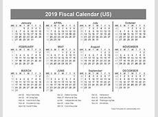 2019 USA Fiscal Quarter Calendar Free Printable Templates