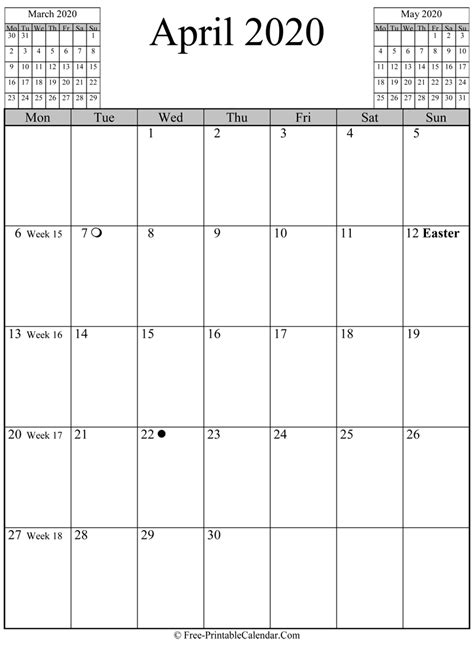 april  calendar vertical layout