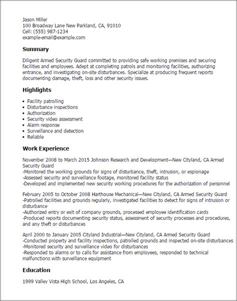 armed security resumearmed security resume professional armed security guard templates to showcase your talent myperfectresume