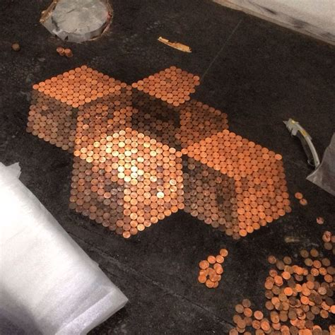 tile your floor with pennies tiling the bathroom floor with pennies for the home pinterest
