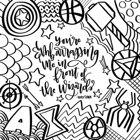 avengers  game zentangle coloring page  tombow