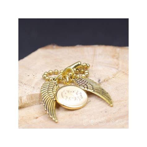 gold angel wings keychain bag charm  monogram bbca