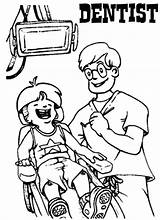 Coloring Pages Dentist Patient Clinic Kid Dental Health Dentists Treating Coloringpagesfortoddlers Need Teeth Brush Education sketch template