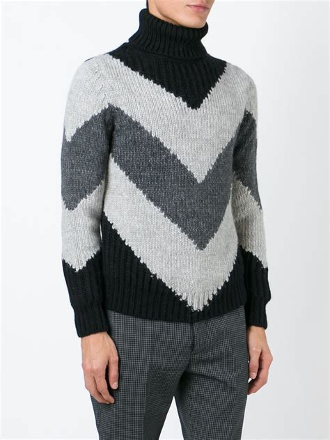 moncler sweater moncler chevron knit sweater in black for lyst