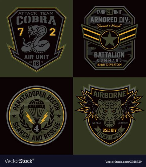 Amazing collection of ribbons eps file. Special unit military emblems graphics Royalty Free Vector