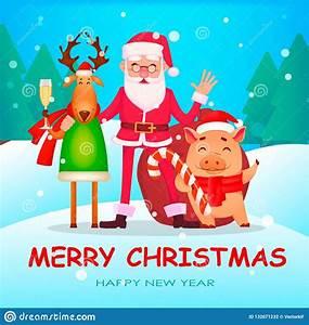 Funny, Santa, Claus, Cute, Deer, And, Pig, Stock, Vector