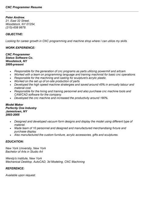 Resume For Cnc Maintenance Engineer by Cnc Programmer Resume Exle Resumes Design