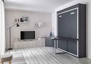 Lit Avec Tv Escamotable : lit escamotable avec table maldive secret de chambre ~ Nature-et-papiers.com Idées de Décoration