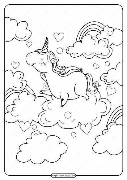 Unicorn Coloring Printable Clouds Above