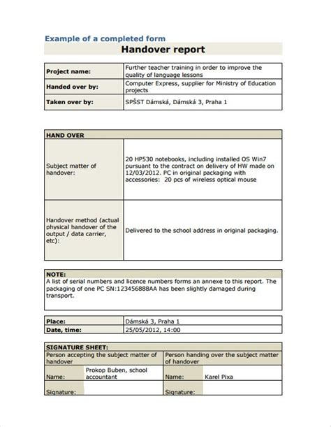 sample handover reports kanza