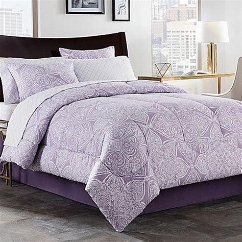 purple bedroom comforter sets lea 6 8 comforter set in purple white bed bath 16839