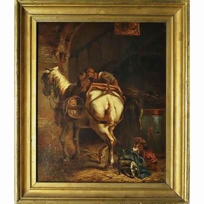 Painting Antique Oil Horse Antiques Uncommon Treasure