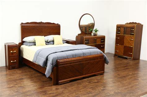 sold art deco waterfall vintage  pc bedroom set queen