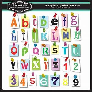 cutout pushpin alphabet and numbers clipart set for cards With scrapbook letter cutouts