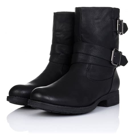 biker ankle boots buy luxe flat buckle biker ankle boots black leather style