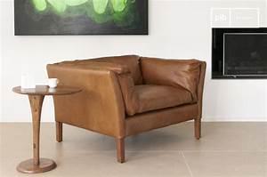 Fauteuil en cuir hamar elegance du design vintage pib for Fauteuil en cuir design