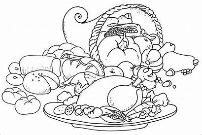 Dinner Drawing Turkey Coloring Thanksgiving Feast Pages