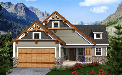 craftsman ranch   sloping lot ah architectural designs house plans