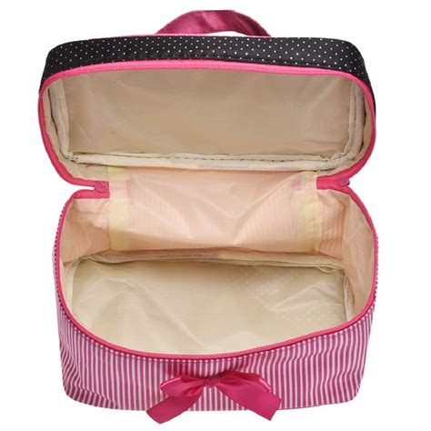 tftp stripe bow cosmetic monolayer pink in cosmetic bags cases from luggage bags