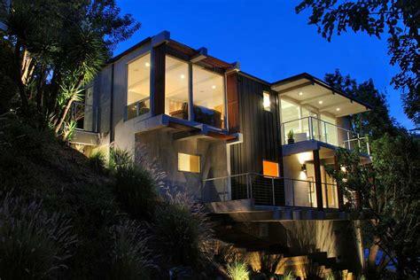 Contemporary Hillside Homes Design Night Lighting