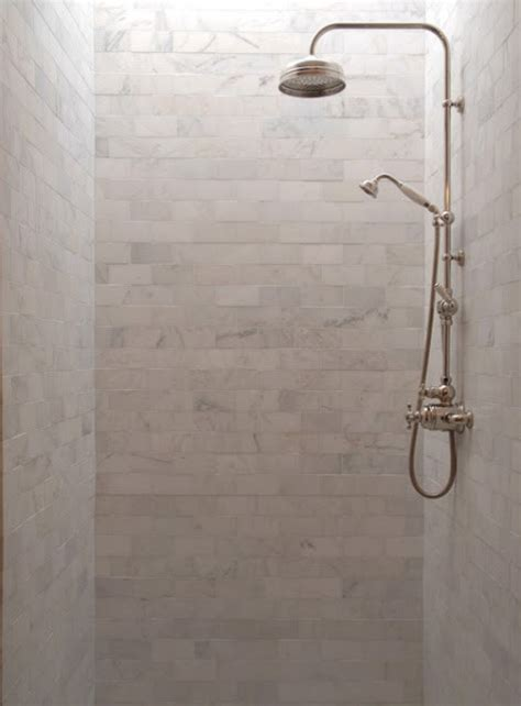 marble subway tile shower stall traditional bathroom