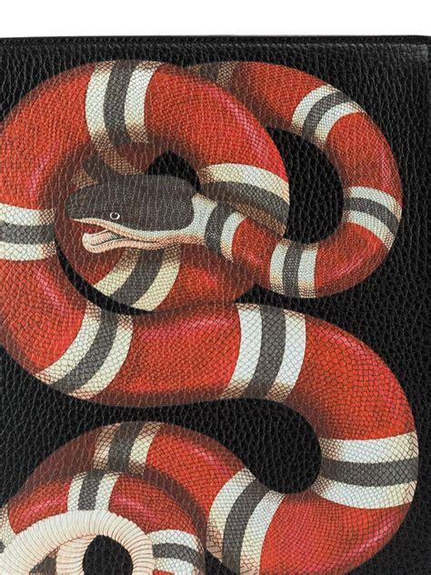 lyst gucci snake print pounch  black