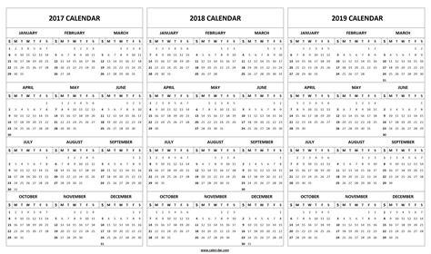 2017 2018 calendar template printable 2017 2018 2019 calendar template 3 year editable calendar