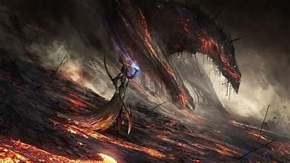Dragon Deviantart Fantasy Digital Lava Artwork Computer