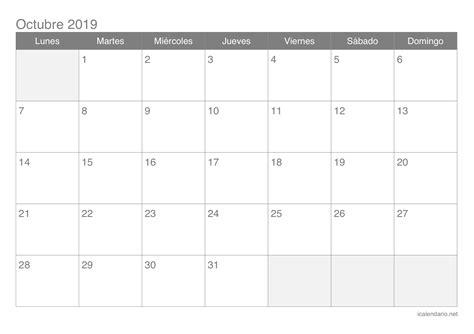 calendario octubre imprimir icalendarionet