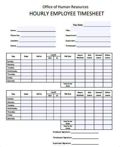 10+ Sample Employee Timesheets  Sample Templates