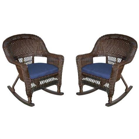 jeco rocker wicker chair in espresso with blue cushion