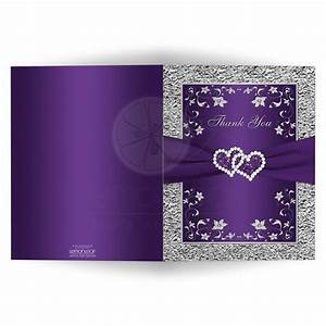a2 wedding thank you card blank purple silver floral With blank silver wedding invitations