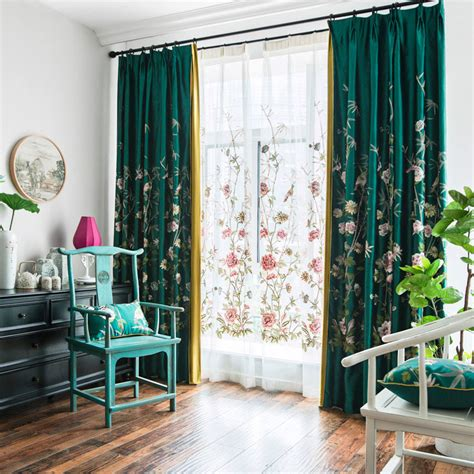 emerald green floral silk beautiful embroidered curtains