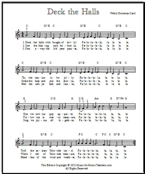 Deck The Halls Guitar Chords Easy by Free Guitar Sheet For Beginners White