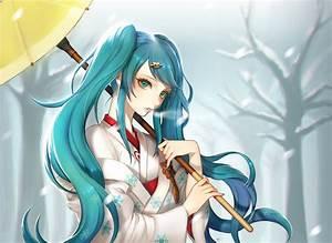 Wallpaper, Forest, Illustration, Long, Hair, Anime, Girls, Snow, Winter, Umbrella, Cold, Vocaloid